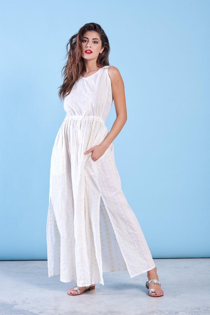 Beach wedding dress boho bridal gown white maxi dress