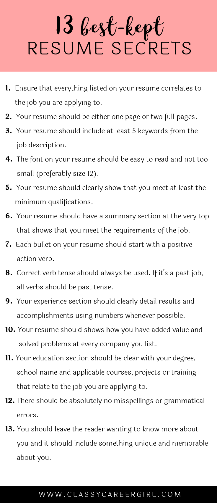 The 13 Best-Kept Resume Secrets | Currículum, Consejos y Escuela de ...