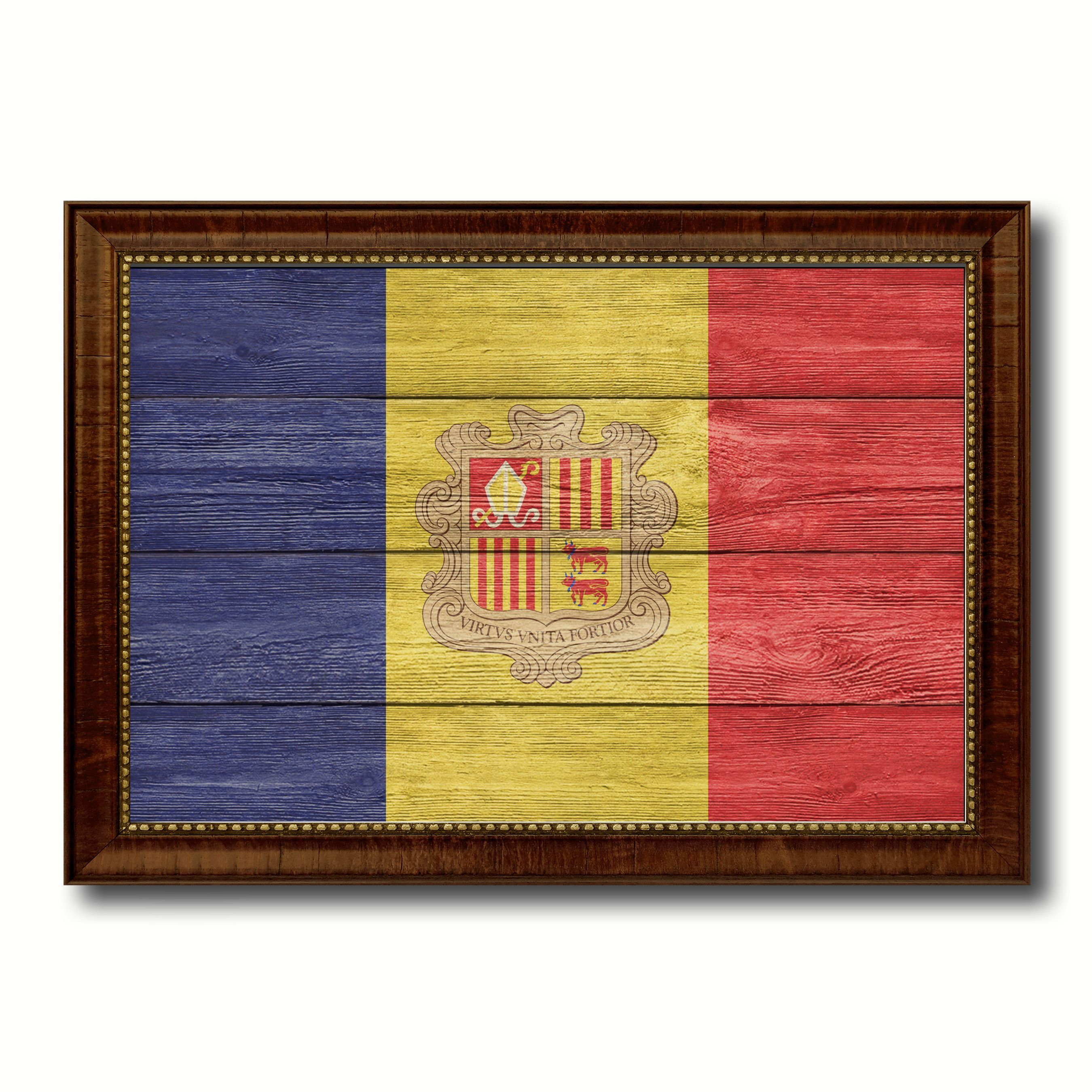 Andorra Country Flag Texture Canvas Print with Brown Custom Picture ...