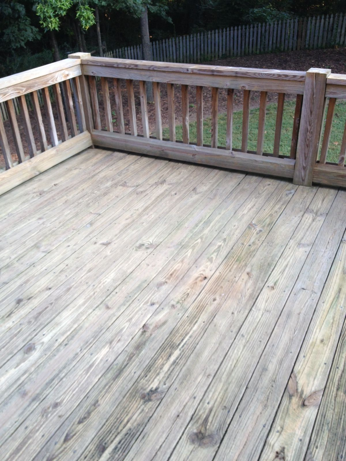 Deck Prior to pressure wash and stain application Deck