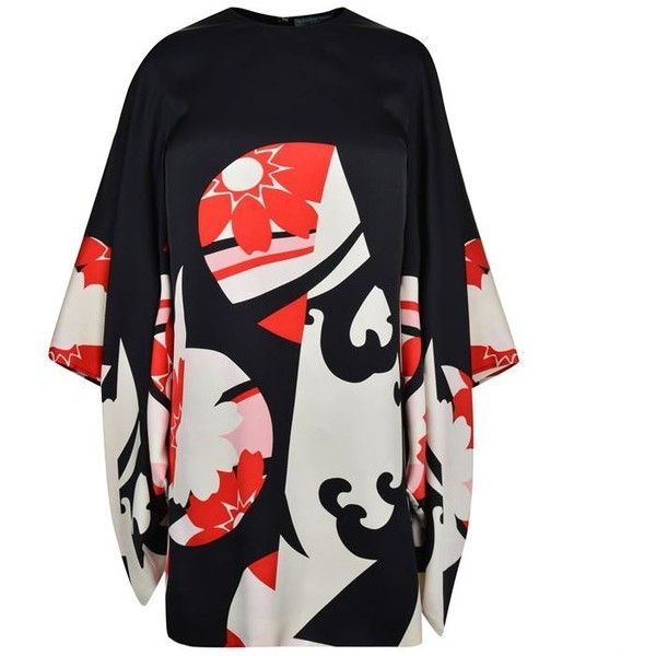 Alexander Mcqueen Kansai Kite Dress ($2,185) ❤ liked on Polyvore featuring dresses, black multi, silk print dress, kimono sleeve dress, alexander mcqueen, zip dress and pattern dress