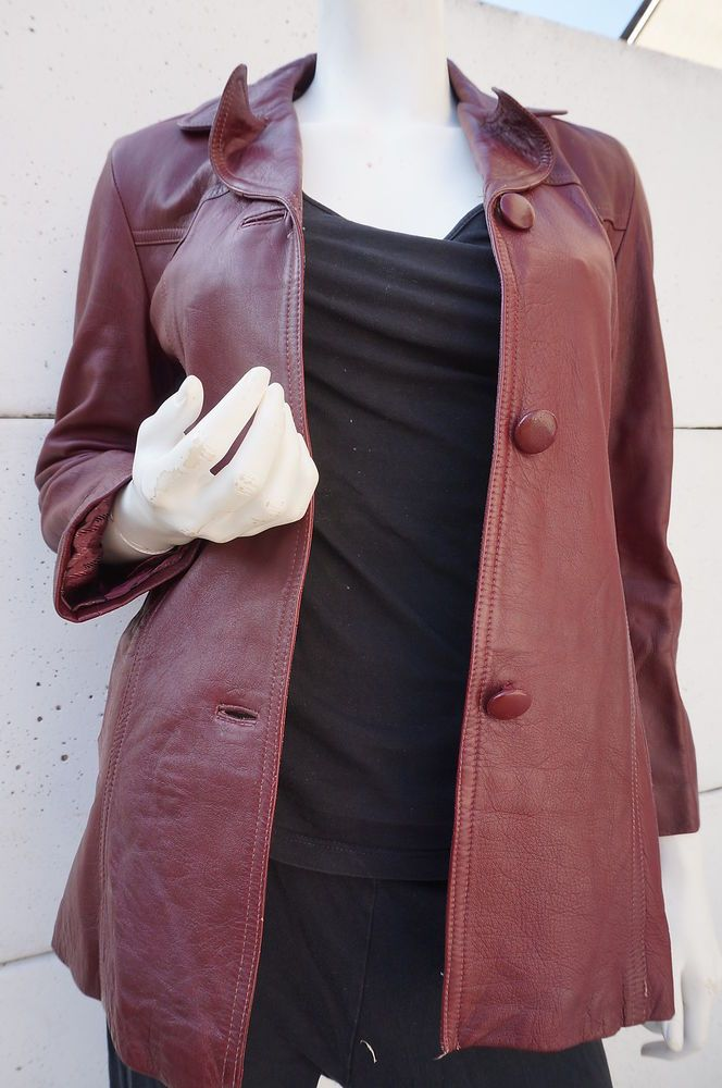 Seventies Vtg 70 Veste Leather Cuir Vintage 38 T Jacket Bordeaux pXp7wqY