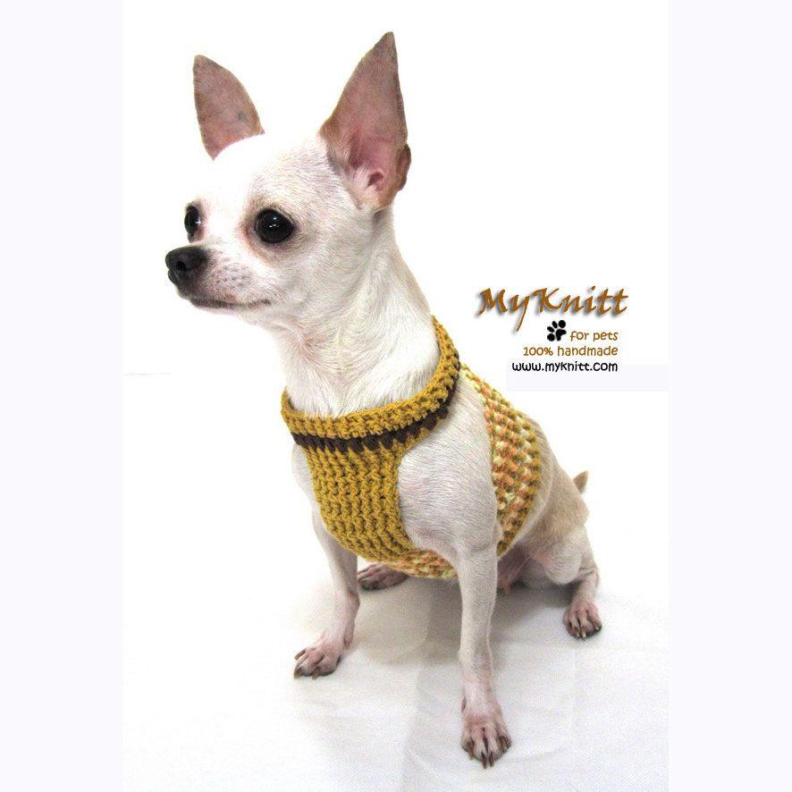 Dog Harness Vest Crochet Clothing Small dog Pets by myknitt   Roupas ...