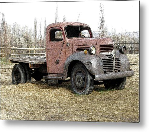 Derelict Dodge DCD Metal Print by DK Digital.  All metal prints are professionally printed, packaged, and shipped within 3 - 4 business days and delivered ready-to-hang on your wall. Choose from multiple sizes and mounting options. #art #artprints #wallart #metalprint #homedecor #countrylife #rural #rurallife #farmlife #abandoned #abandonedtruck #farmtuck #vintagetruck #dodge #dodgetruck #wheelerfarm