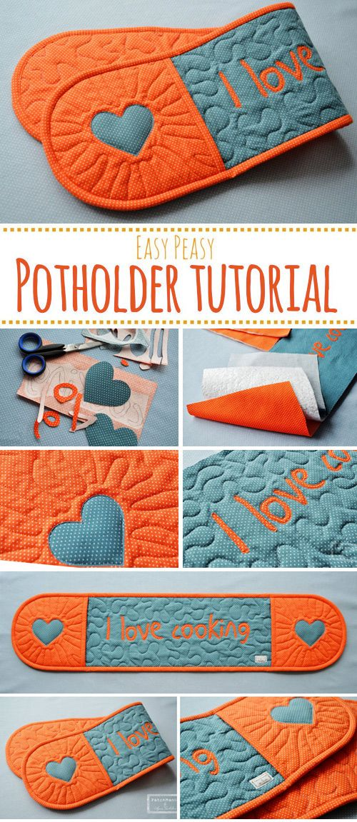 Potholder Tutorial I love cooking #beginnersewingprojects