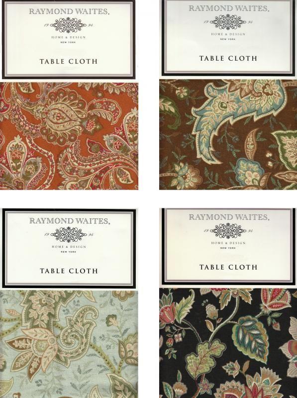 RAYMOND WAITES Tablecloth Paisley Floral Print Fabric Choice