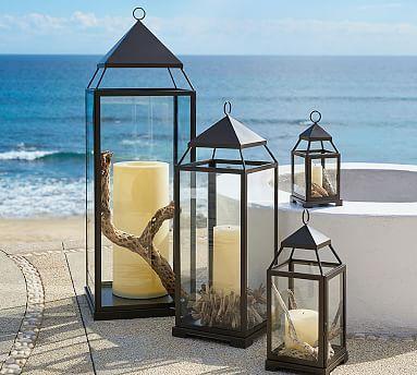 "Malta Lanterns - Bronze finish #potterybarn   Large: 10"" square, 29"" high; holds 4 x 8"" PB Pillar Candle."