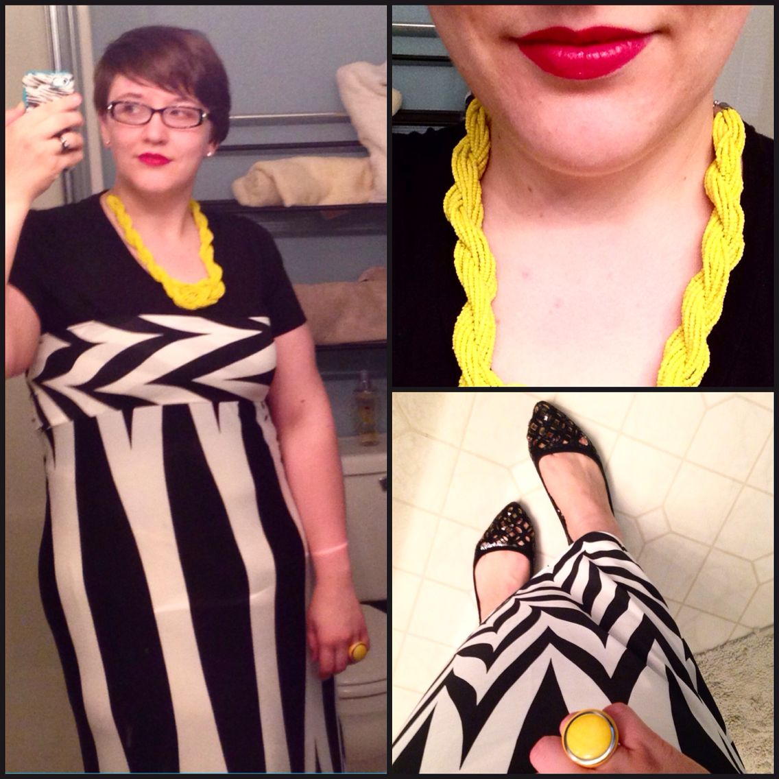 #DYTType4 #ootd for work at the front desk. Shoes from #CharmingCharlie, necklace from #eBay. Maxi from #Zulily. #dyt #dressingyourtruth #type4bold #instafashion #MomFashion #wiw #wiwn #wiwt #boldlips