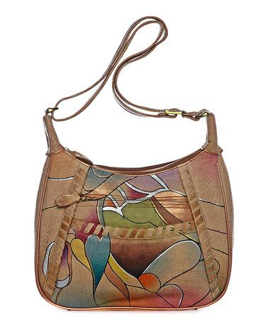 Magnifique Bags Brown Blue Abstract Leather Hand Painted Shoulder Bag