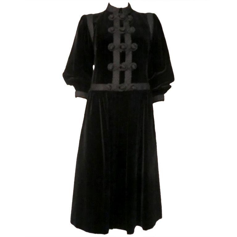 658cadfacf3 Yves Saint Laurent 'Russian Collection' Velvet Coat and Skirt w/ Braid |  1stdibs.com