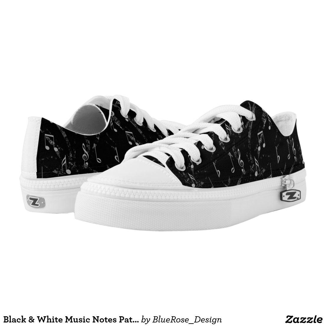 Negro & Blanco Zapatos Music Notes Pattern Unisex Zapatos Blanco Printed Zapatos | Zapatos aa1bc6