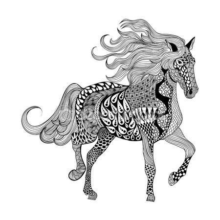 Vectores Similares A 100430384 Horse Zentangle Stylized Vector Illustration Freehand Pencil Pattern Zen Art Malvorlagen Pferde Mandala Pferd Kunst Ideen