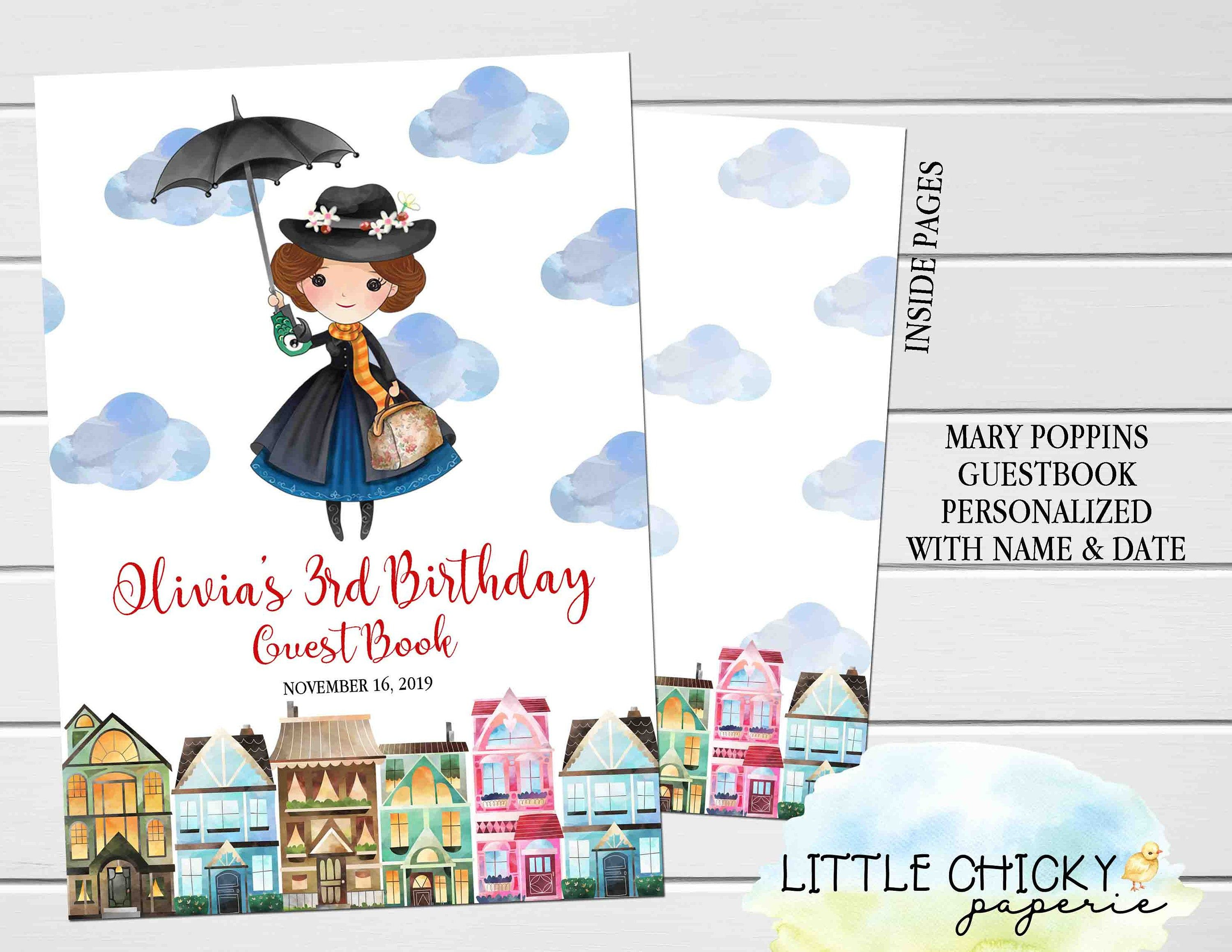 Mary Poppins Birthday Guestbook, Birthday Guest book, Mary Poppins Birthday, Softcover Journal, Personalized Guest Book