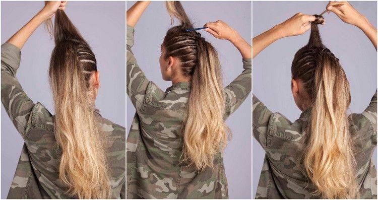 Anleitung Faux Hawk Deckhaar Toupieren Zwirbeln Haar Styling Toupierte Haare Toupierte Frisuren
