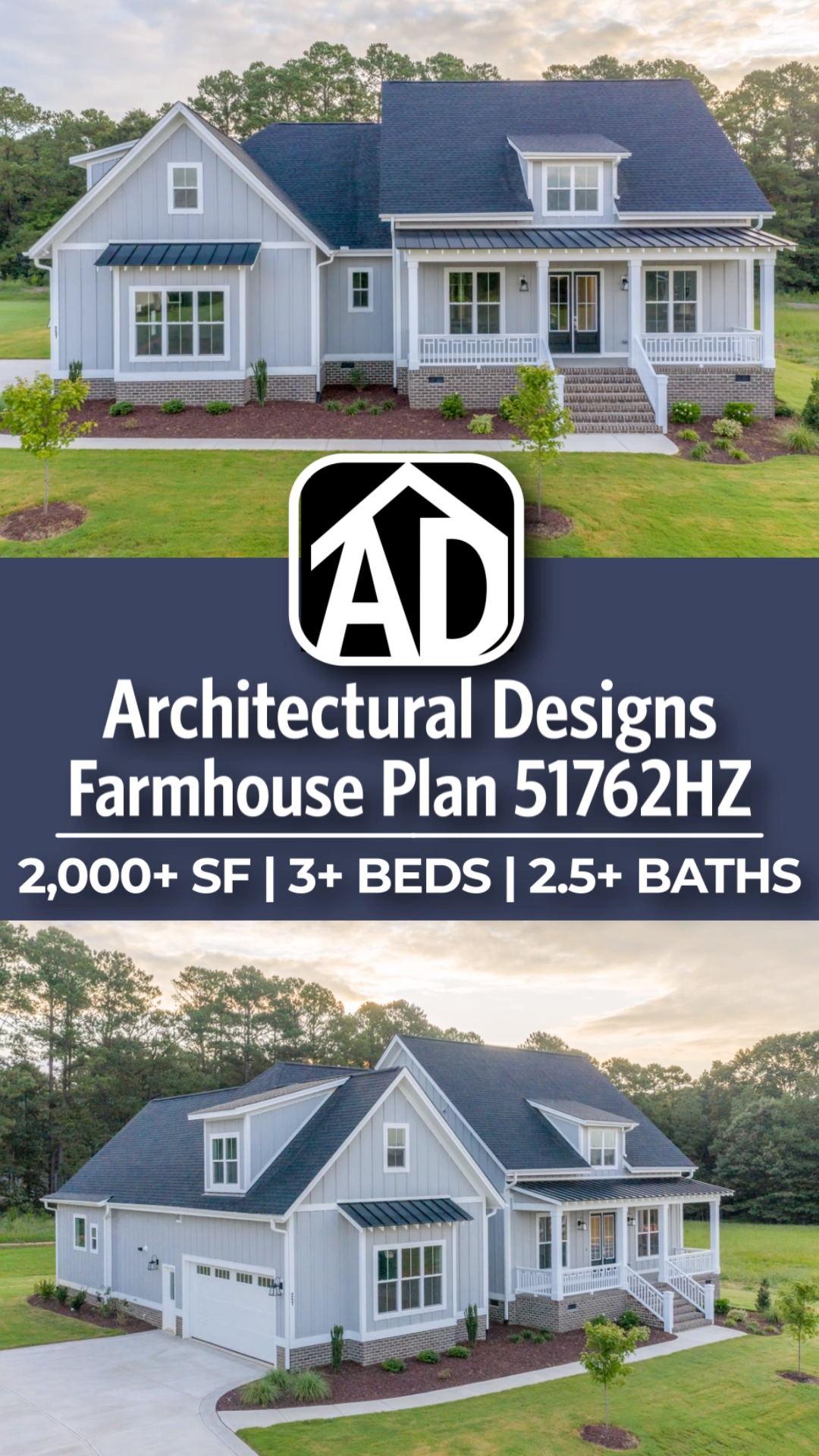 Modern Farmhouse Home Plan 51762HZ from Architectural Designs! This home design is 2,000+ SF, with 3+ Beds and 2.5+ Baths with an optionally finished Bonus Room over the Garage! Ready when you are! Where do YOU want to build? #adhouseplans #homeplans #houseplans #floorplans #modernfarmhouse #farmhouse #bluehouse #homedesign #homedesigners #floorplan #homedesigns #farmhouse #farmhousestyle #51762HZ #architecturaldesigns #modernfarmhouseexterior