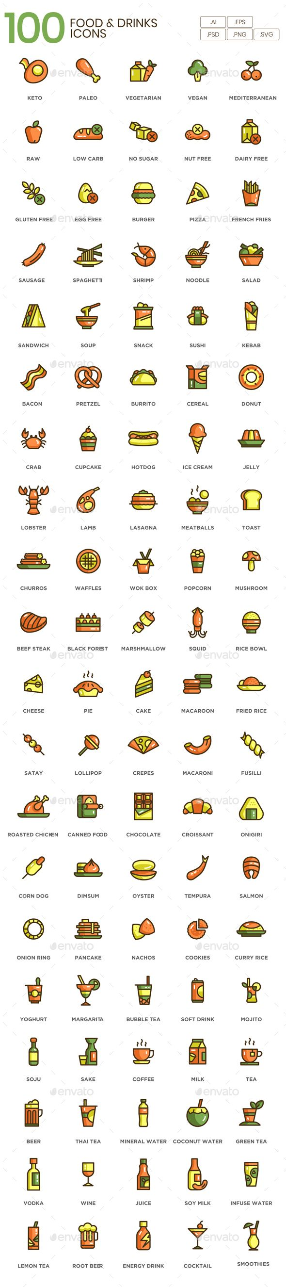 Food & Drink Icons - Eco Series  Fully customisable set of