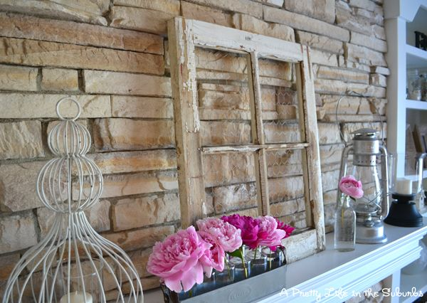 Love this window frame with chicken wire for the mantel!