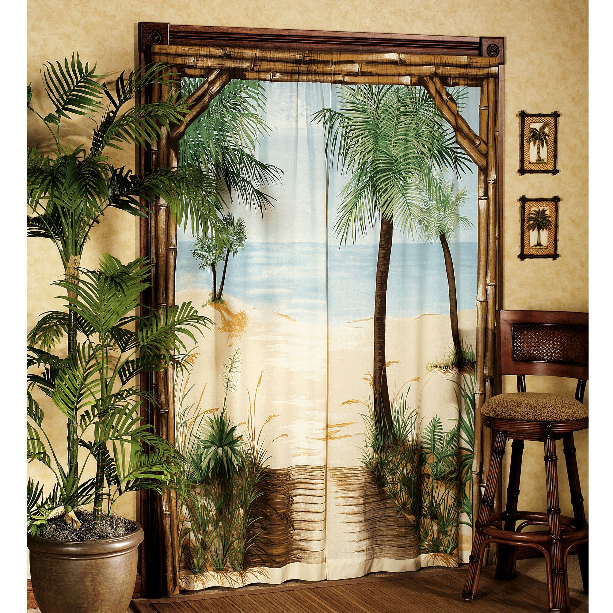 Tropical Bathroom Window Curtains