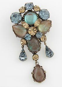 Regency Japanned Brooch with Large Saphiret Cabs, Blue & Topaz Rhinestones