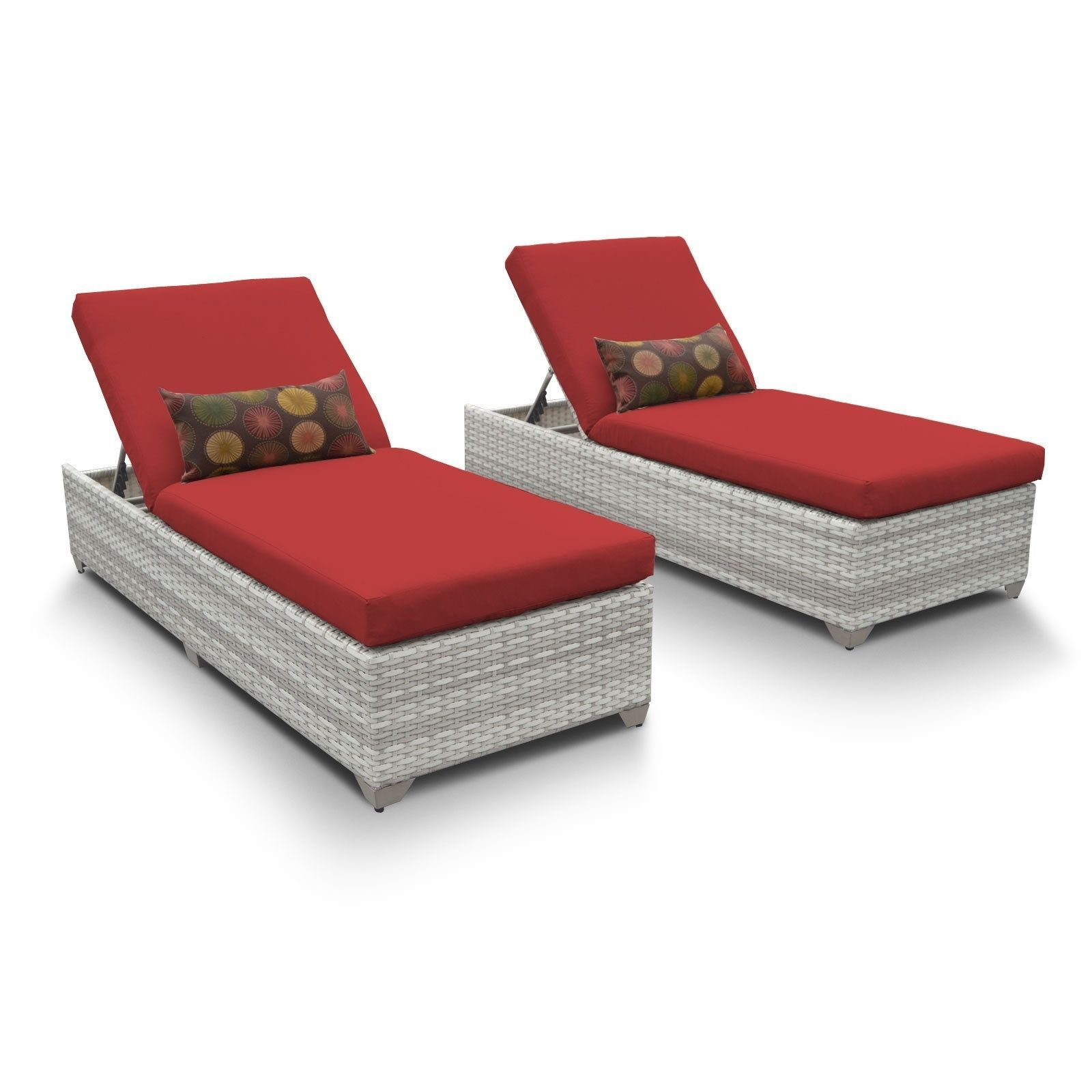 Outdoor Home Catamaran Wicker Outdoor Patio Chaise Lounge Set of