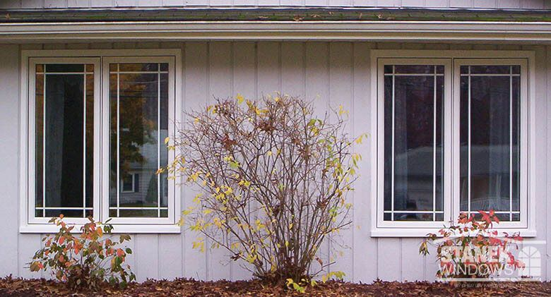 White Casement Windows With Single Prairie Metal Grids Learn More About Stanek Casement Windows Casement Windows Windows Exterior Ranch Exterior