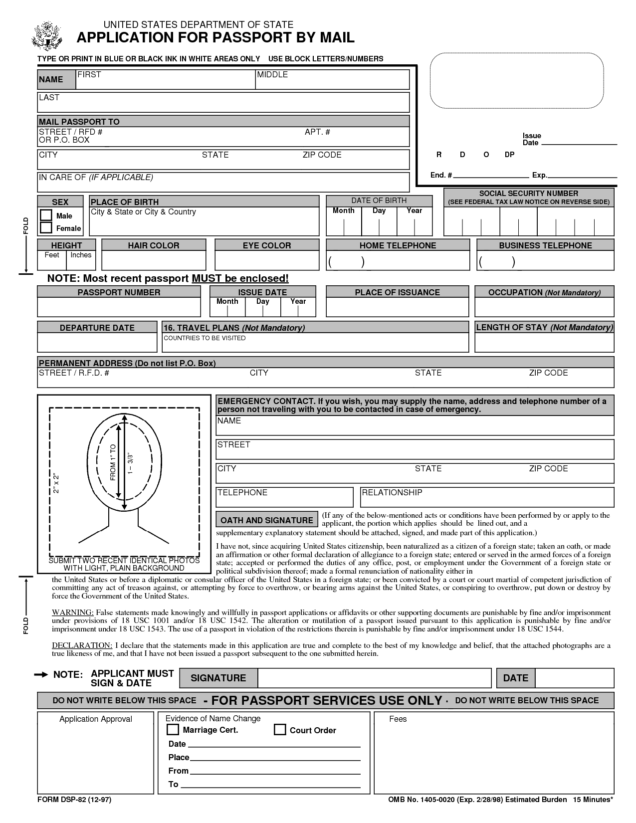 Free printable passport application form passport renewal form ds 82 application for passport renewal by mail falaconquin