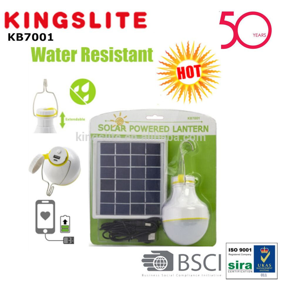 good quality 2w solar power rechargeable led light bulb with power bank kb7001 [ 960 x 960 Pixel ]