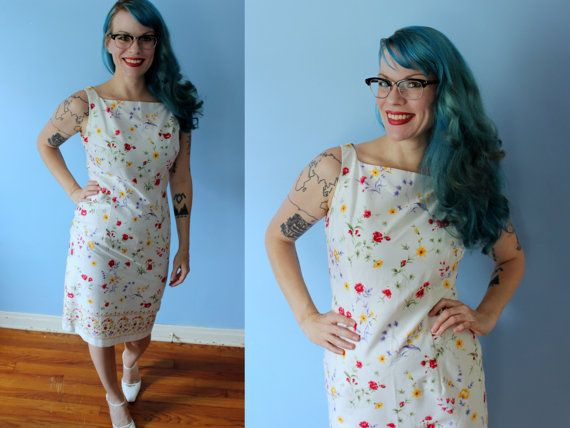 Vintage White Floral Wiggle Dress // Maggy London Shimmy Dress with Floral Pattern Size 4 // Pinup Bombshell 40's style summer frock