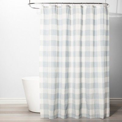Gingham Checkered Shower Curtain Borage Blue Threshold Target