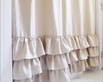 Linen Ruffle Shower Curtain Handmade Shabby Chic Girls Bathroom Curtain  Custom Color Option Natural Flax Linen