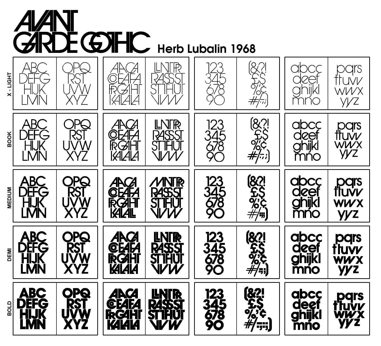 herb lubalin avant garde gothic - Google zoeken