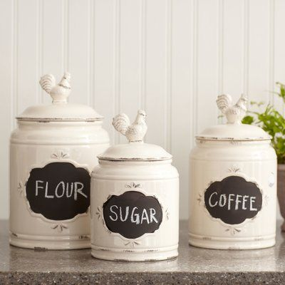Laurel Foundry Modern Farmhouse Retro Kitchen Canister Wayfair In 2020 Ceramic Kitchen Canister Sets Farmhouse Kitchen Canisters Ceramic Kitchen Canisters
