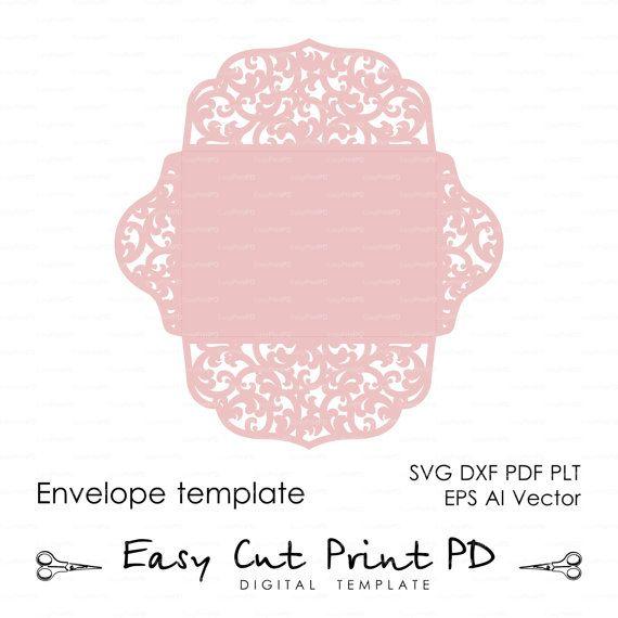 Desplazamiento de encaje boda sobre patrón por EasyCutPrintPD - small envelope template