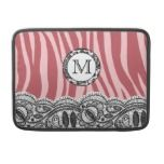 Pink Zebra Stripes and Lace Monogram macbook sleeves