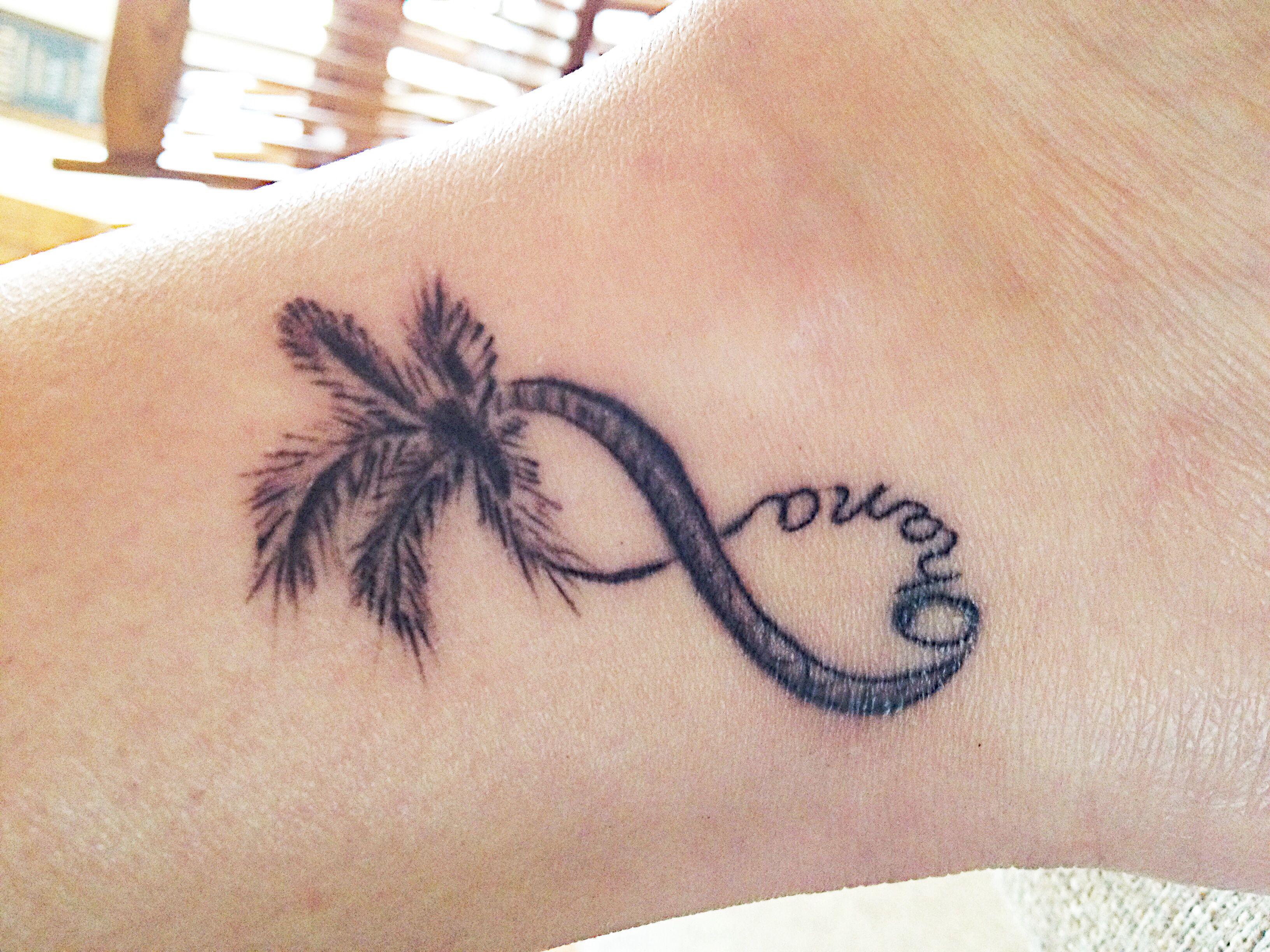 My newest tattoo infinity palm tree ohana for Ohana infinity tattoo