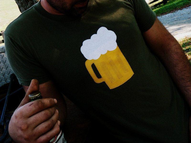 Beer Mug Mens Tshirt Size M Upcycled Tshirt Applique by TrashN2Tees
