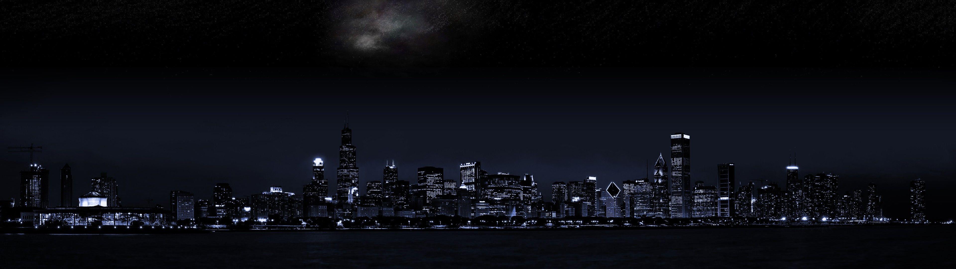 Cityscape Dark Night City Wallpaper Dual Monitor