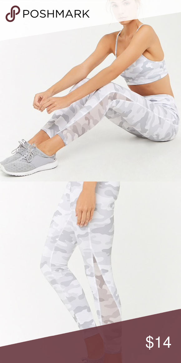 2fa1a0089da7b Forever 21 active camo leggings Light gray and white camo print leggings!  Activewear style with mesh panels at the bottom. Never worn!