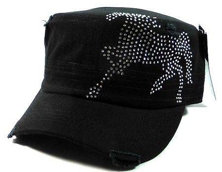 c476693ec2 Bling Horse Cowgirl Cadet Caps Wholesale - Black