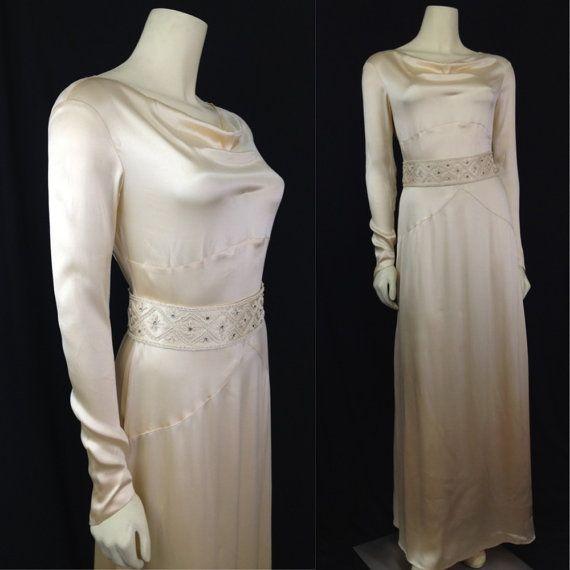 Vintage 1930s Wedding dress beaded silk satin Bias cut Beaded belt ...