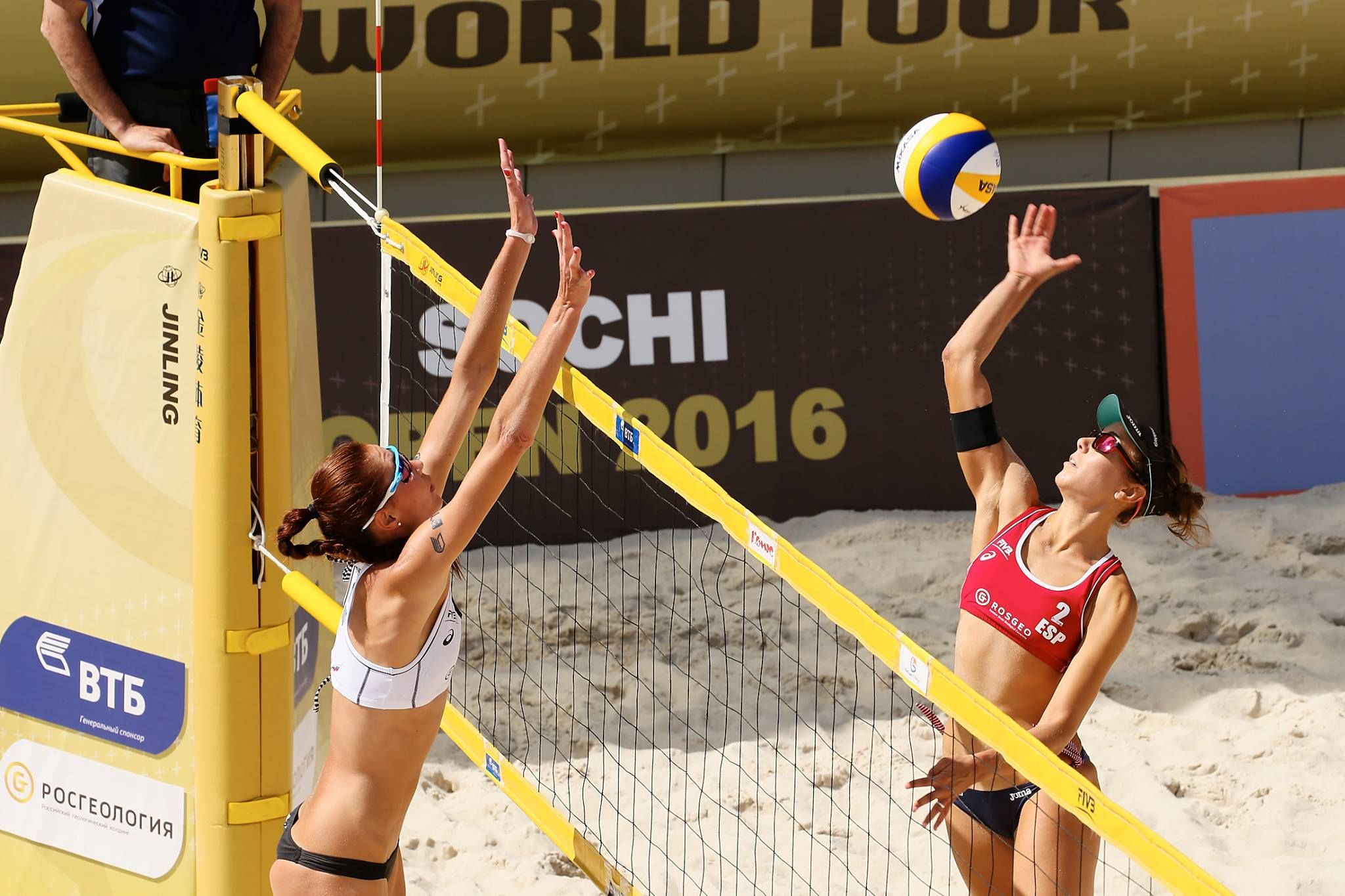 Russia Olga Motrich Waiting For Spain S Angela Lobato Herrero To Spike Beach Volleyball Fivb Beach Volleyball Volleyball