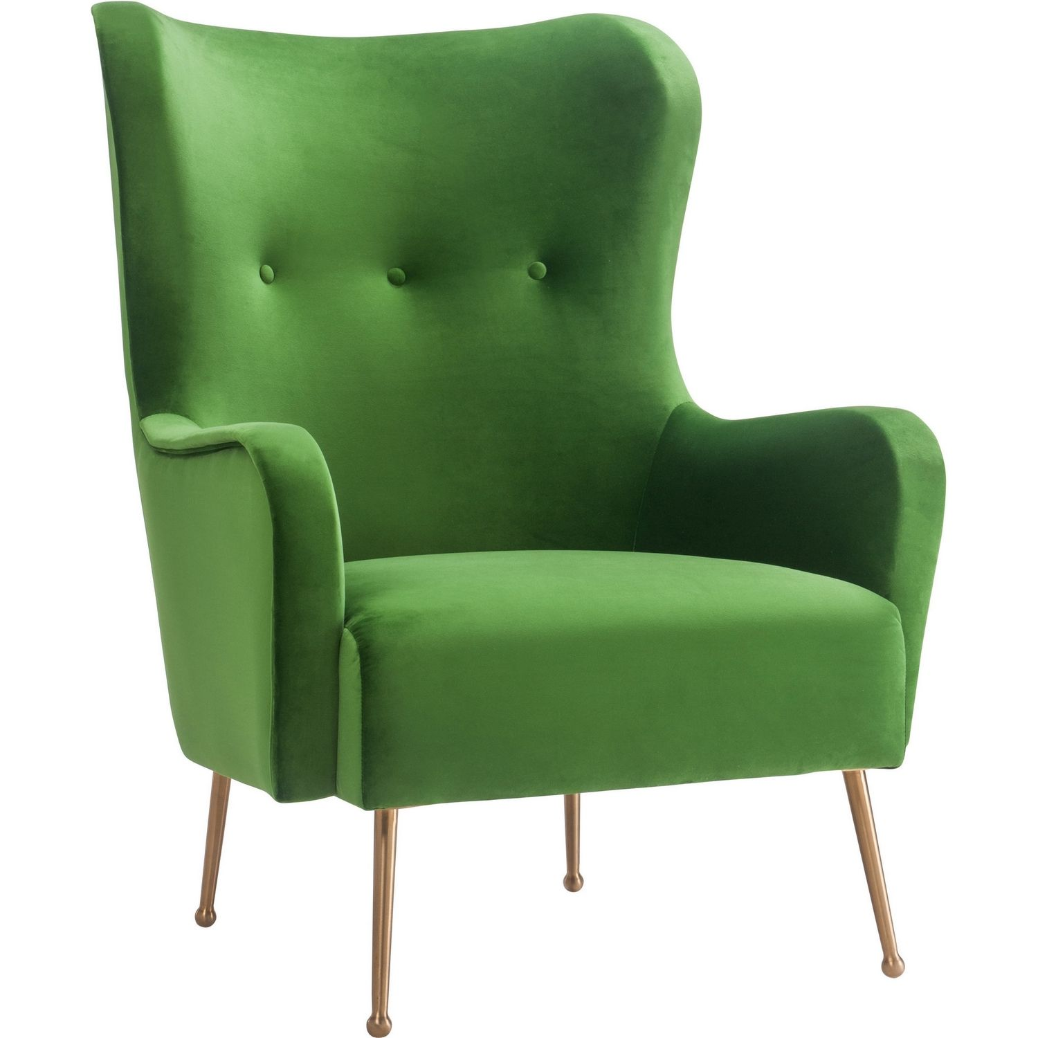 TOV Furniture Ethan Green Velvet Wing Chair on Gold Stainless