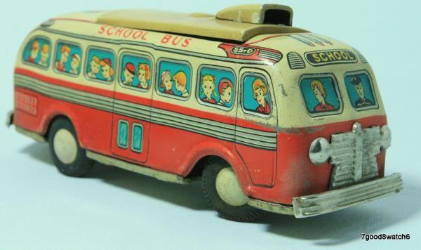 Vintage Japan Litho Tin Toy Mechanical Battery Op School Bus Vehicle Modern Toys
