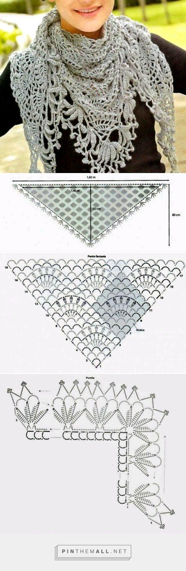Вязание крючком узоры и схемы палантин на