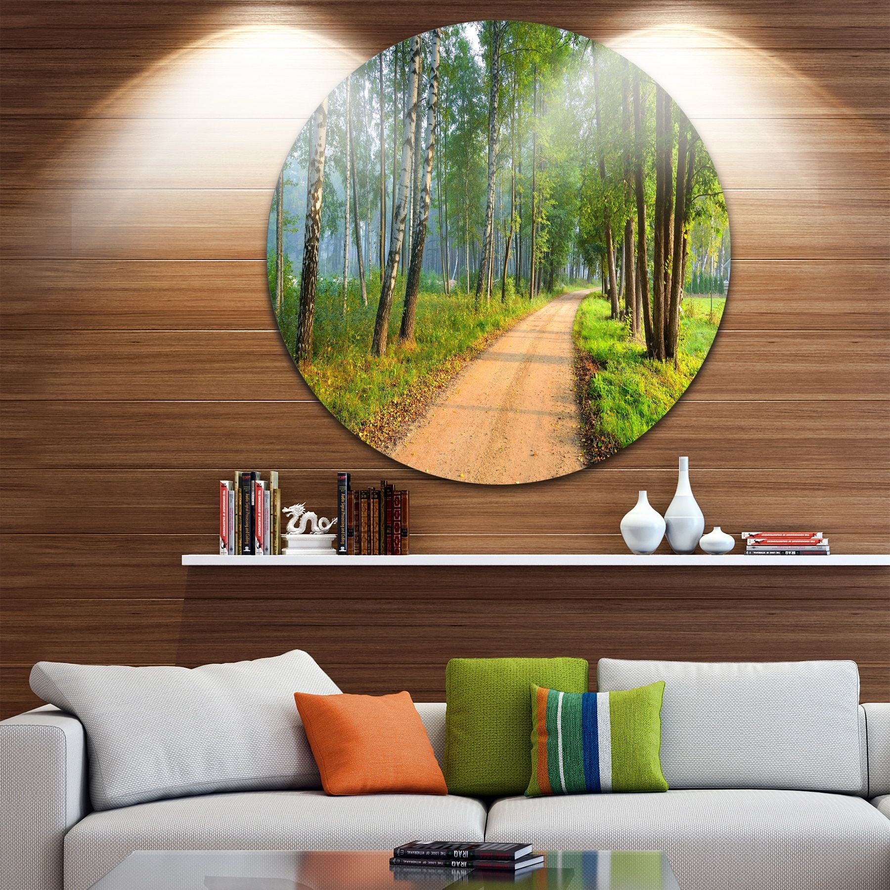 Designart uroad in morning forestu landscape photo round metal wall