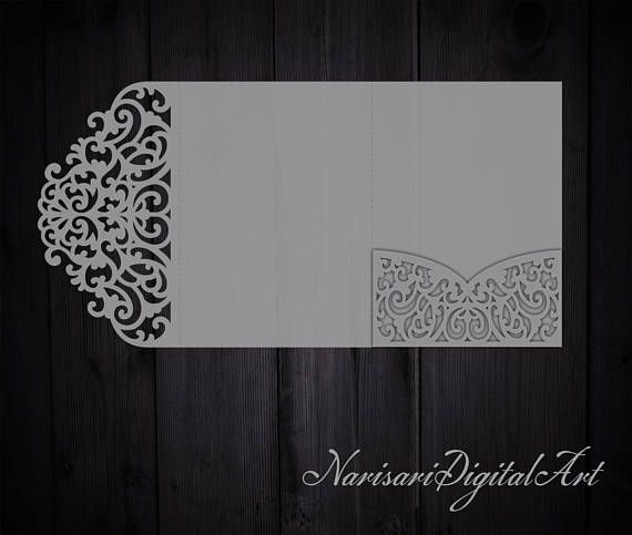 TriFold X Wedding Invitation Pocket Envelope Svg Template