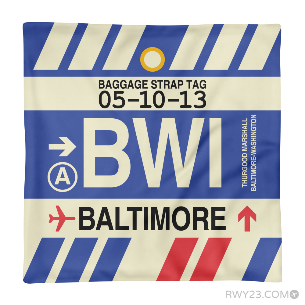 BWI Baltimore Washington Airport Code Throw Pillow   Vintage Baggage Tag  Design