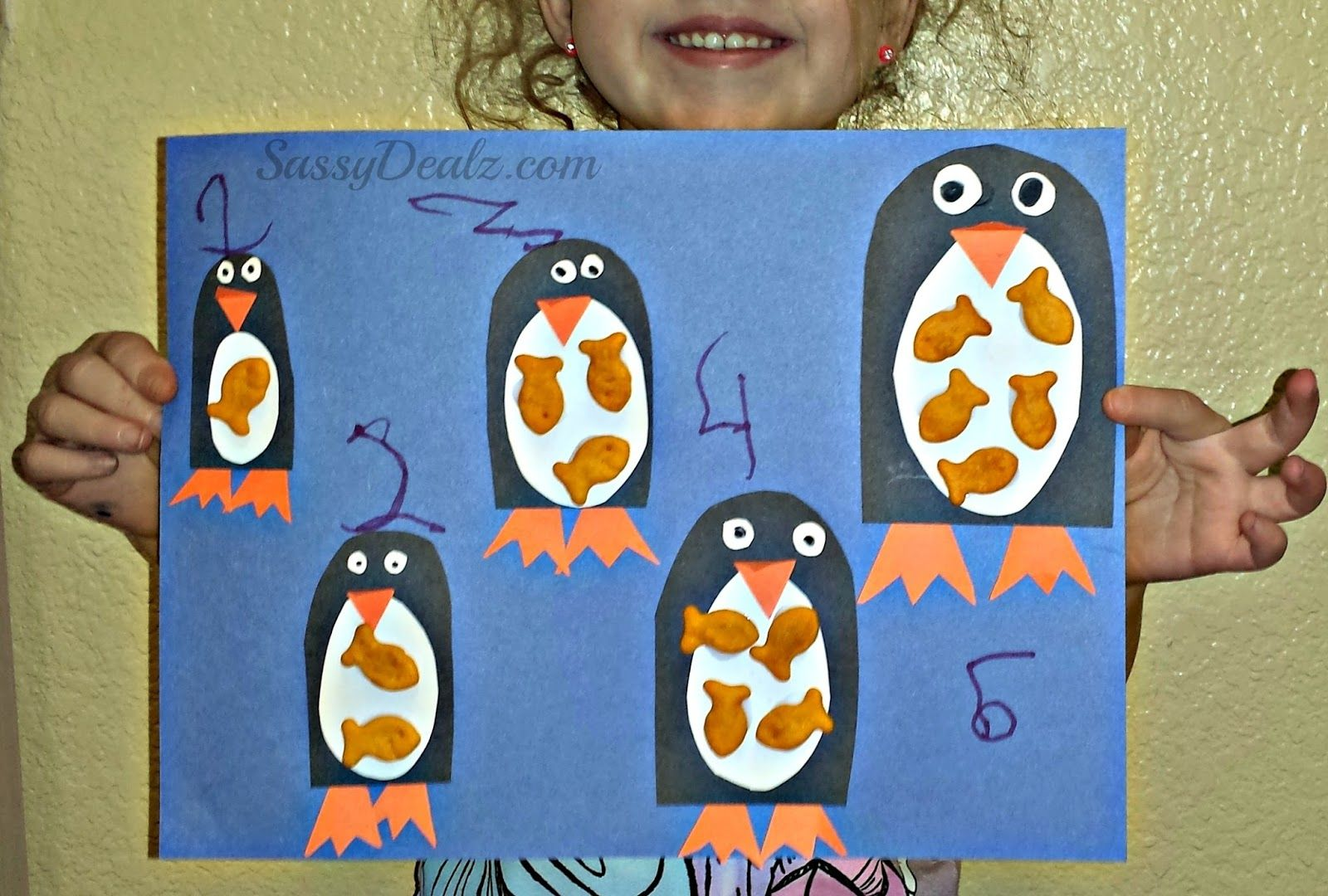 Penguin Goldfish Cracker Counting To 5 Activity Amp Craft