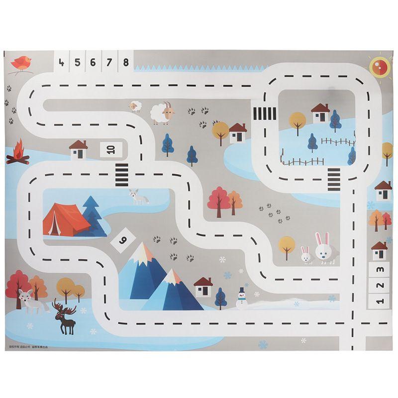 Plus Size Road Print Adventure Game Waterproof Play Mat Carpet