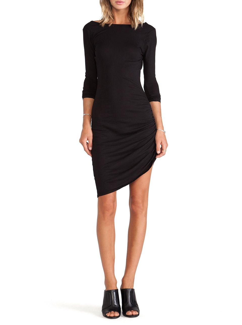 Black long sleeve ruched wrap side backless dress wishlist